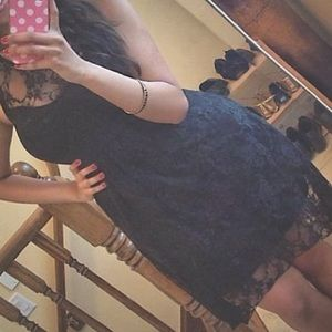 Sexy and sweet lace black high low dress